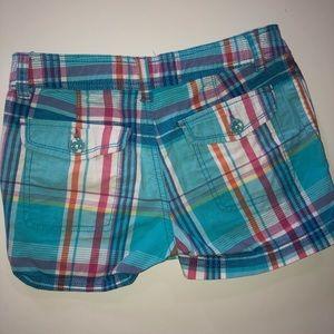 Girls Blue Plaid Shorts
